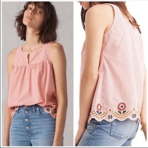 NWT Madewell Embroidered Gingham Scalloped Tank L